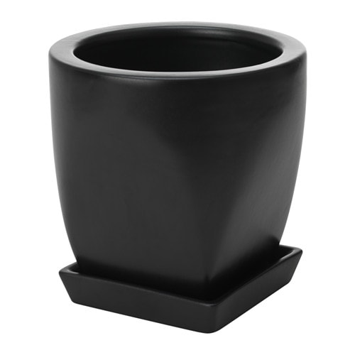 Pepparmix plant pot with saucer ikea for Black planters ikea