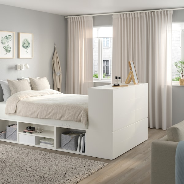 PLATSA Bed frame with 10 drawers, white/Fonnes, 140x244x103 cm