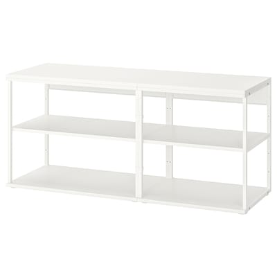 PLATSA Open shelving unit, white, 140x40x63 cm