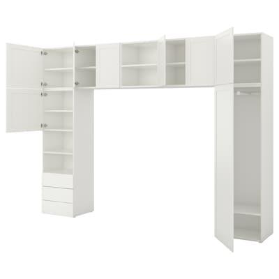 PLATSA Wardrobe, white/Fonnes Sannidal, 340x42x241 cm