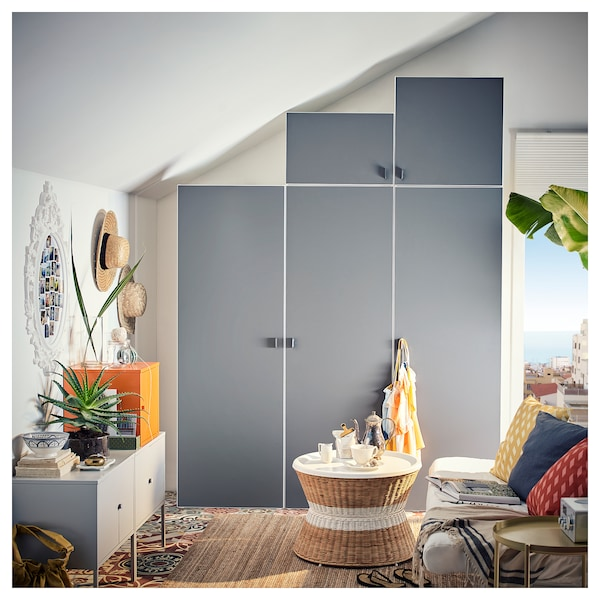 PLATSA Wardrobe, white/Skatval dark grey, 180x57x241 cm