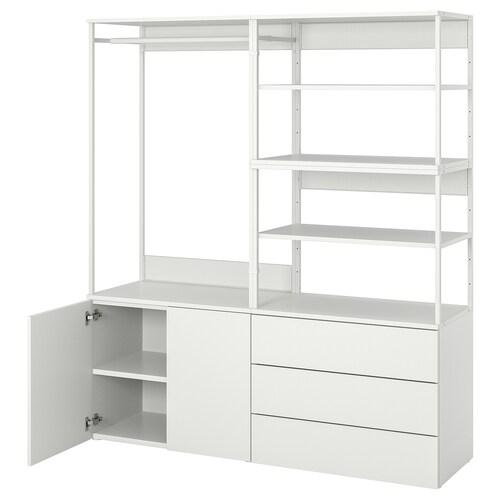 PLATSA wardrobe with 2 doors+3 drawers white/Fonnes white 160 cm 42 cm 181 cm