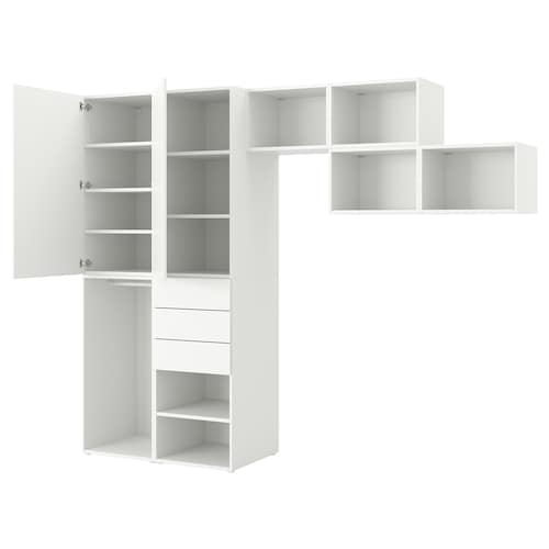 PLATSA wardrobe with 2 doors+3 drawers Fonnes white 300 cm 57 cm 241 cm
