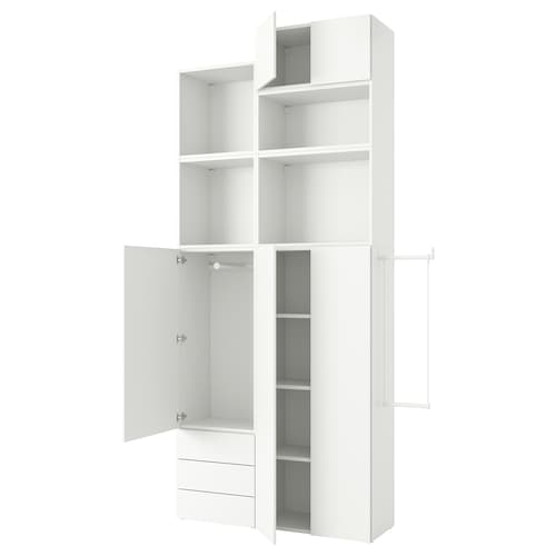 PLATSA wardrobe with 5 doors+3 drawers white/Fonnes white 175 cm 205 cm 42 cm 321 cm