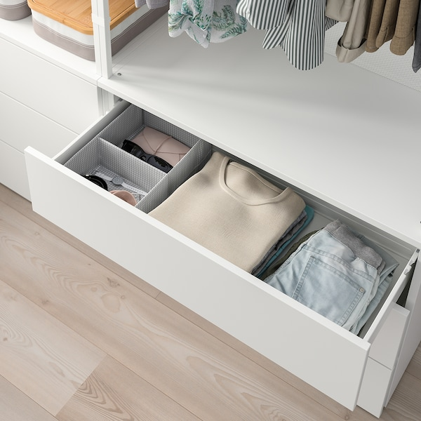 PLATSA wardrobe with 6 drawers white/Fonnes white 140 cm 42 cm 241 cm