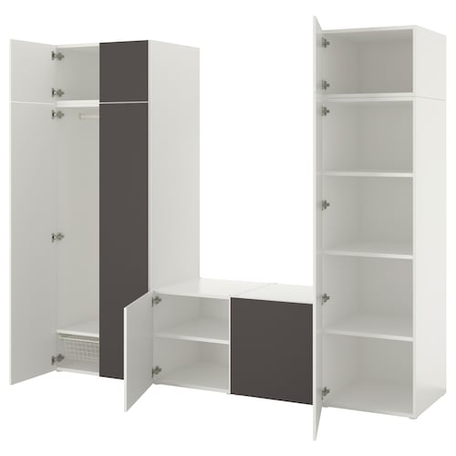 PLATSA wardrobe with 8 doors white/Skatval dark grey 260.0 cm 57.0 cm 221.0 cm