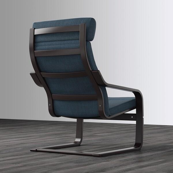 POÄNG Armchair, black-brown/Hillared dark blue