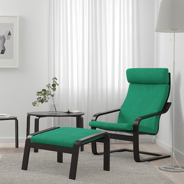 POÄNG Armchair, black-brown/Lysed bright green
