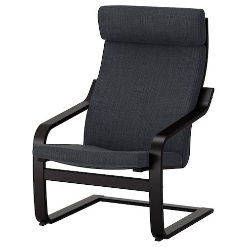 POÄNG armchair black-brown/Hillared anthracite 68 cm 82 cm 100 cm 56 cm 50 cm 42 cm