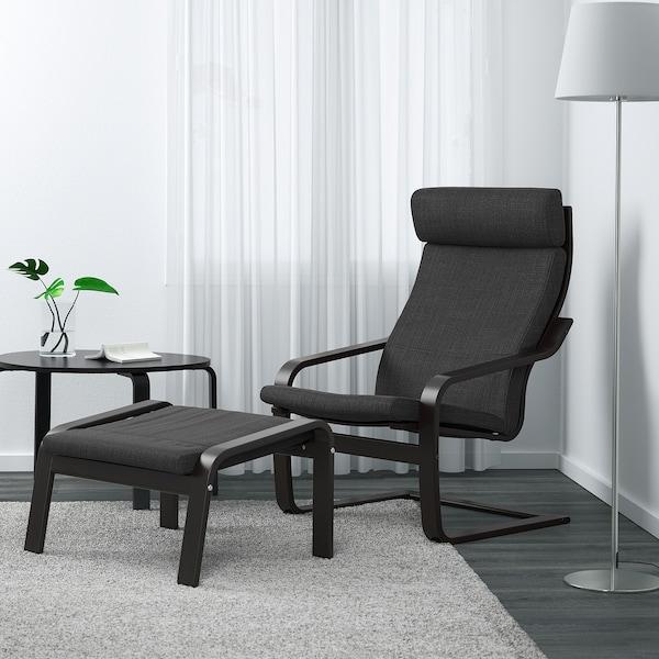 POÄNG armchair black-brown/Hillared anthracite 68 cm 82 cm 100 cm 56 cm 50 cm 42 cm