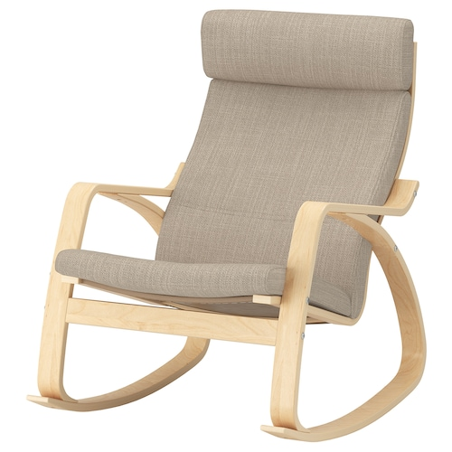 POÄNG rocking-chair birch veneer/Hillared beige 68 cm 94 cm 95 cm 56 cm 50 cm 45 cm