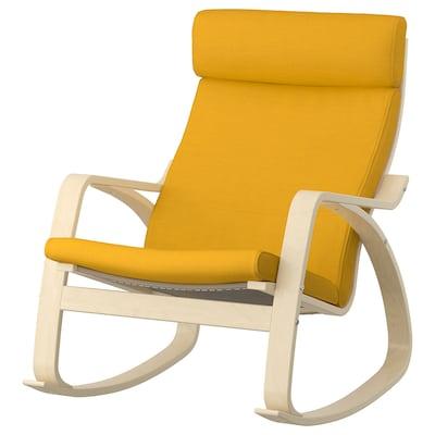 POÄNG Rocking-chair, birch veneer/Skiftebo yellow