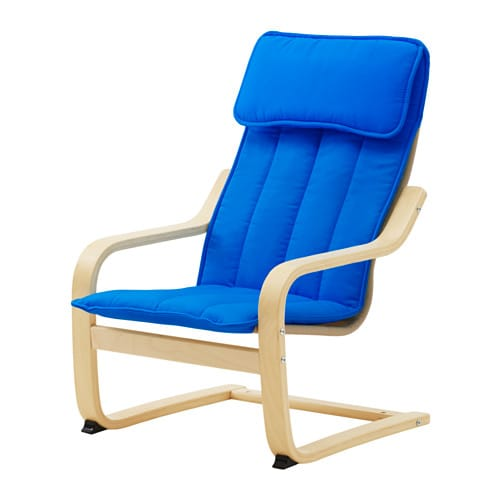 Po ng children 39 s armchair birch veneer alm s blue ikea for Childrens rocking chair ikea