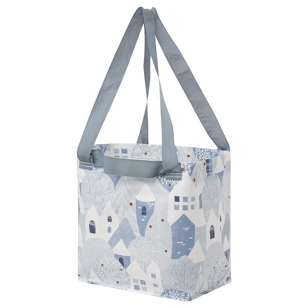 PRYLTA Bag, white/light blue, 27x27 cm
