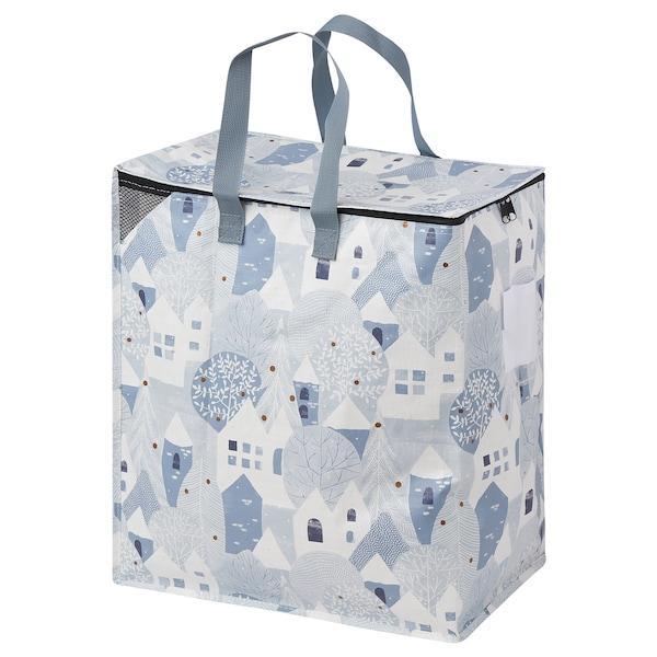 PRYLTA Bag, white/light blue, 47 l