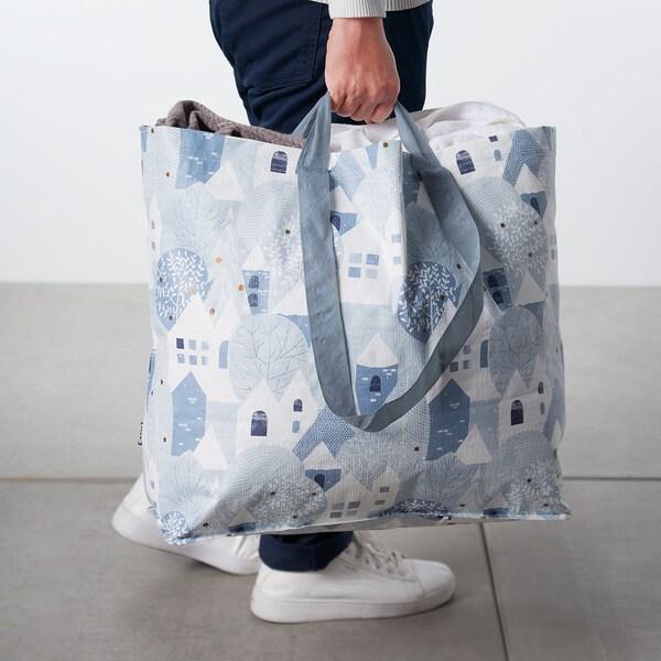PRYLTA Carrier bag, medium, white/light blue, 36 l