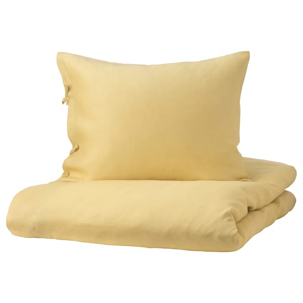 PUDERVIVA Quilt cover and 2 pillowcases, light yellow, 200x200/50x60 cm