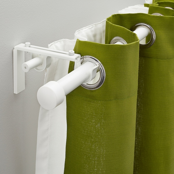 RÄCKA / HUGAD Double curtain rod combination, white, 210-385 cm