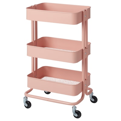 RÅSKOG Trolley, pink-red, 35x45x78 cm