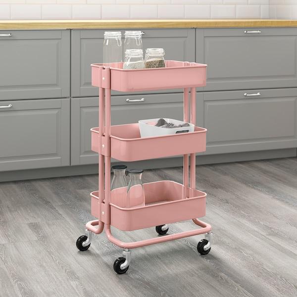 RÅSKOG Trolley, pink-red, 35x45x78 cm
