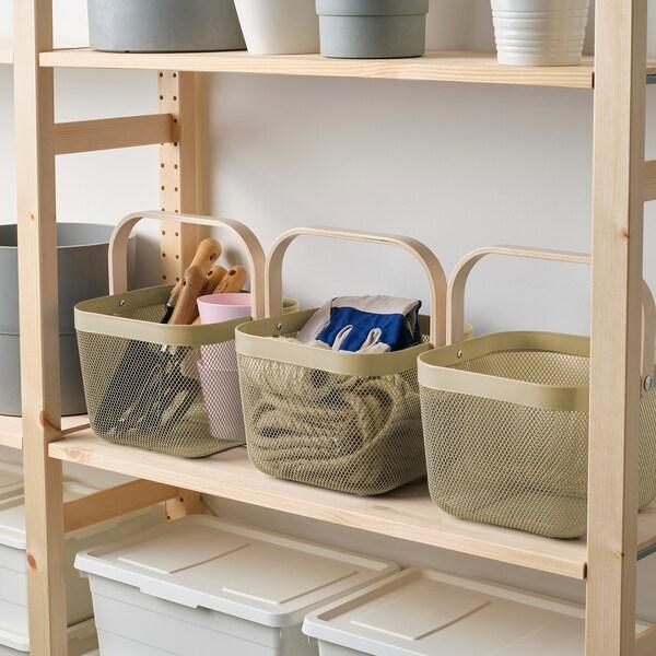 RISATORP Basket, light olive-green, 25x26x18 cm