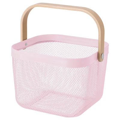 RISATORP Basket, light pink, 25x26x18 cm
