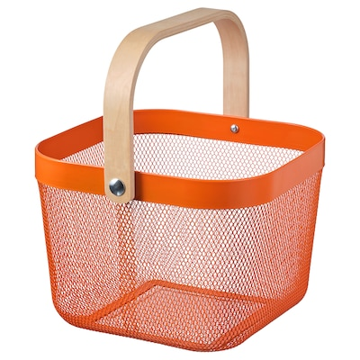RISATORP Basket, orange, 25x26x18 cm