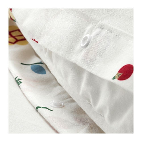 ROSENFIBBLA Quilt cover and 2 pillowcases IKEA Cotton, feels soft and nice against your skin.  Concealed press studs keep the quilt in place.
