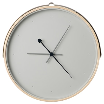 ROTBLÖTA Wall clock, ash veneer/light grey, 42 cm