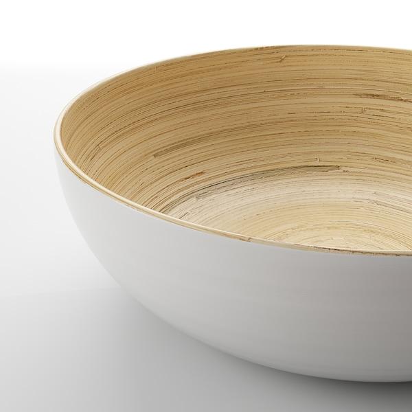 RUNDLIG Serving bowl, bamboo/white, 30 cm