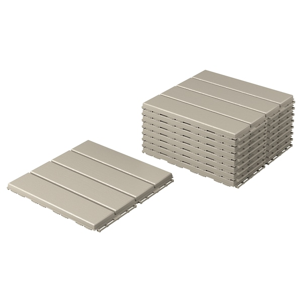 RUNNEN Floor decking, outdoor, beige, 0.81 m²