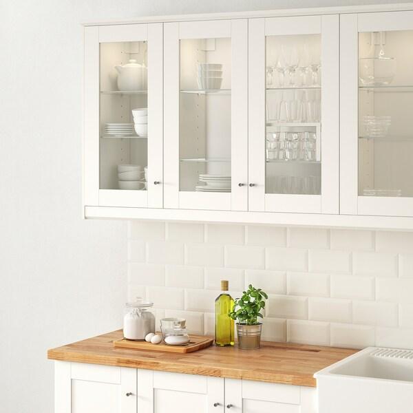 SÄVEDAL Glass door, white, 30x80 cm