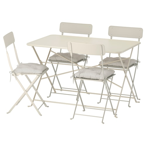 SALTHOLMEN table+4 folding chairs, outdoor beige/Kuddarna grey
