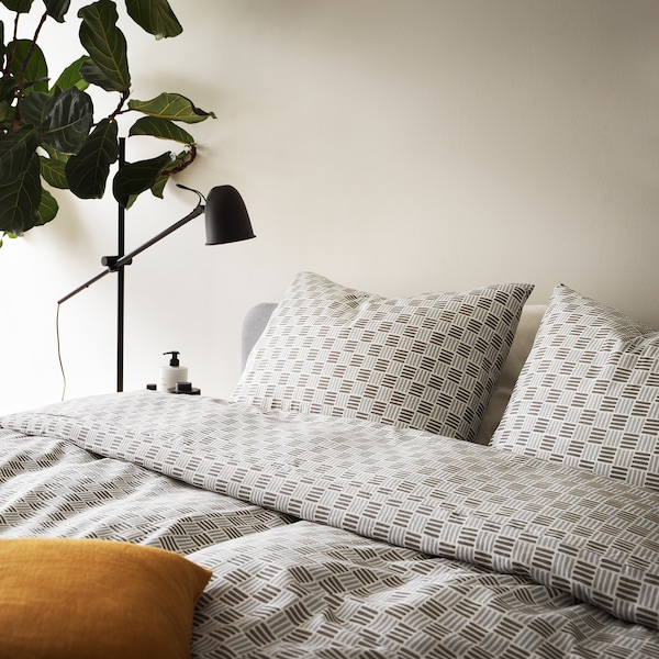 SILVERFRYLE Quilt cover and pillowcase, white/grey, 150x200/50x60 cm