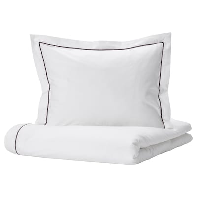 SILVERTISTEL Duvet cover and pillowcase, white/dark grey, 150x200/50x60 cm