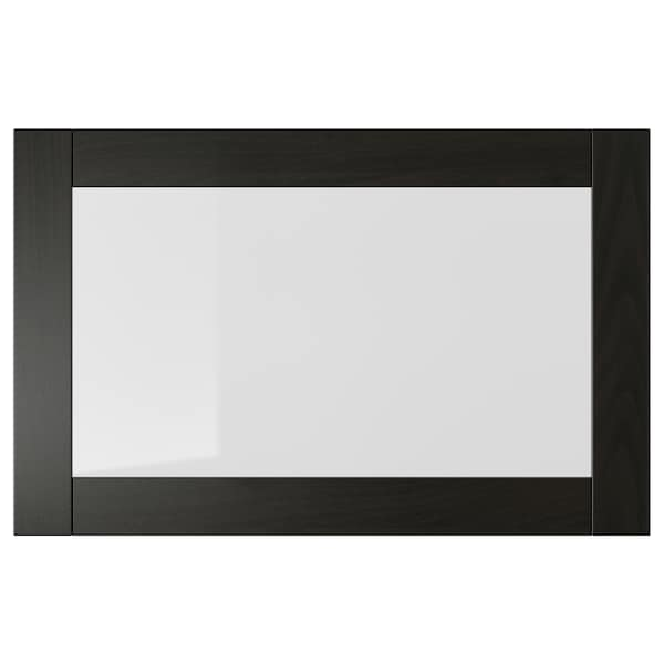SINDVIK glass door black-brown/clear glass 60 cm 38 cm