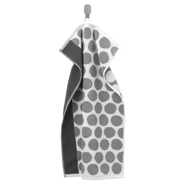 SJÖVALLA Hand towel, anthracite/white, 40x70 cm