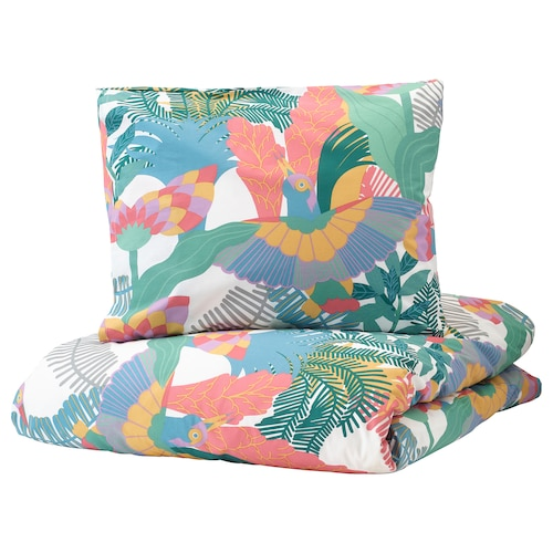 SKOGSFIBBLA quilt cover and pillowcase white/multicolour 152 /inch² 1 pack 200 cm 150 cm 50 cm 60 cm