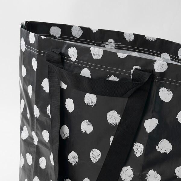 SKRUTTIG Carrier bag, medium, white/black, 36 l