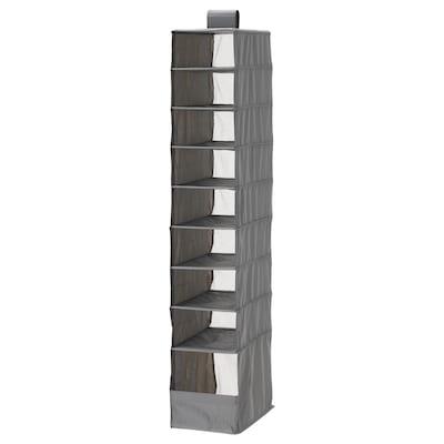 SKUBB Storage with 9 compartments, dark grey, 22x34x120 cm