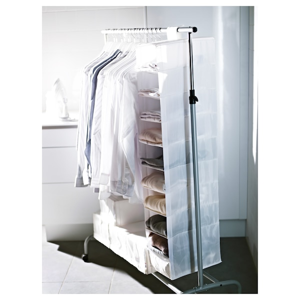 SKUBB Storage with 9 compartments, white, 22x34x120 cm