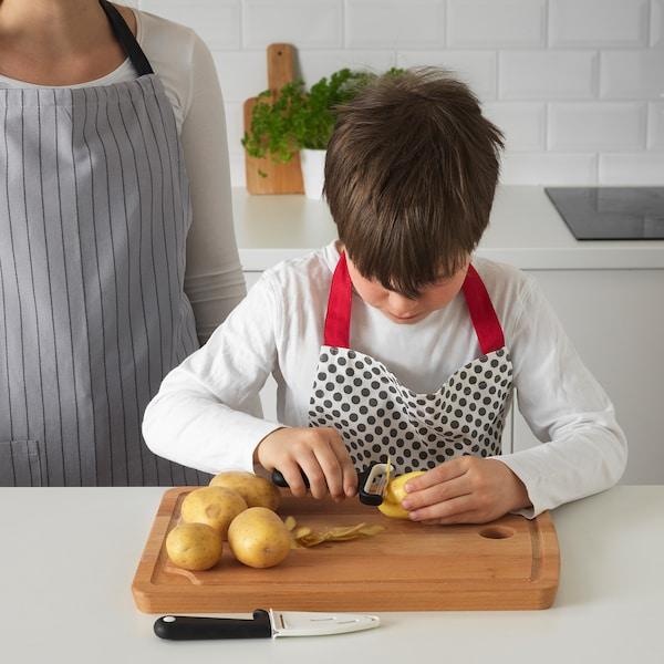 SMÅBIT Knife and peeler, black/white