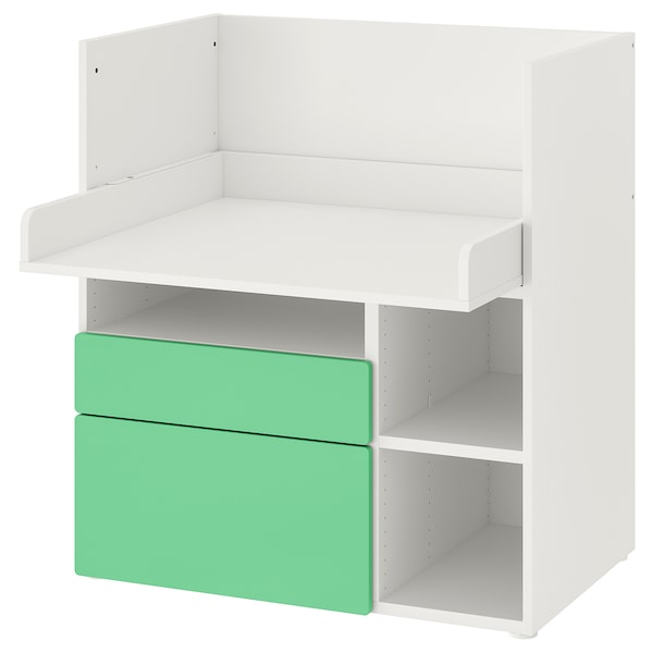 SMÅSTAD Desk, white green/with 2 drawers, 90x79x100 cm