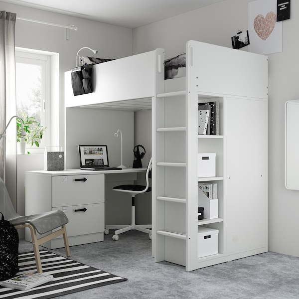 SMÅSTAD Loft bed, white white/with desk with 3 drawers, 90x200 cm
