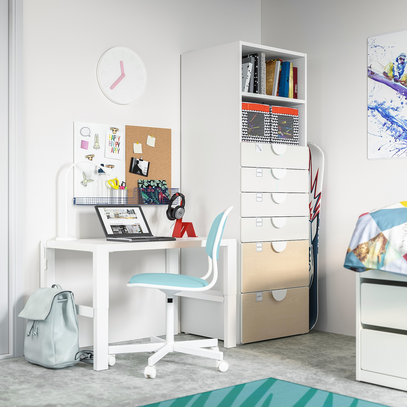 SMÅSTAD / PLATSA Bookcase, white birch/with 6 drawers, 60x57x181 cm