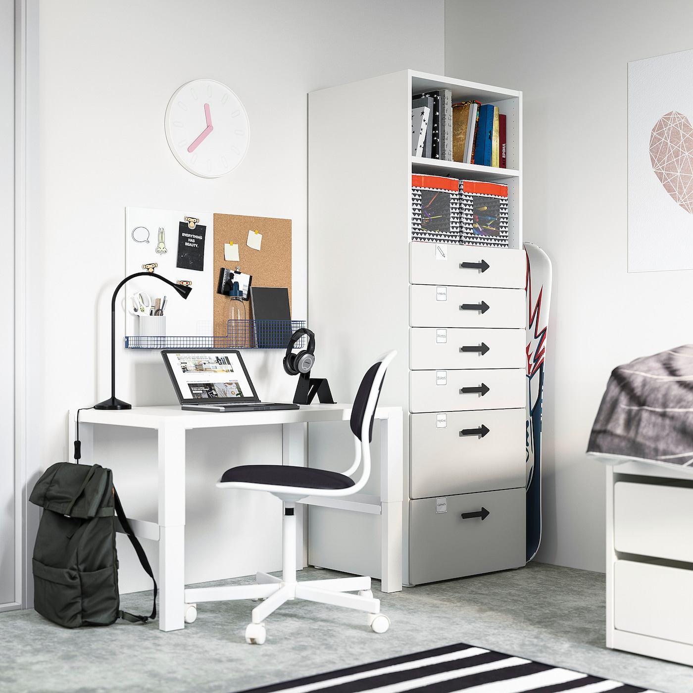 SMÅSTAD / PLATSA Bookcase, white grey/with 6 drawers, 60x57x181 cm