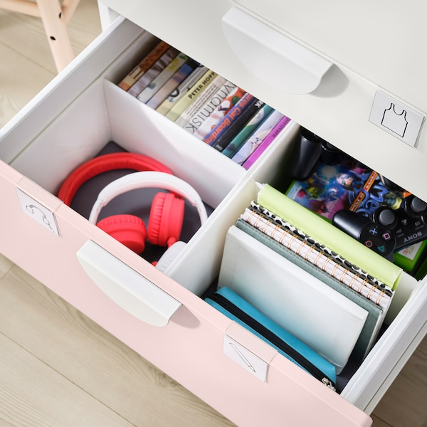 SMÅSTAD / PLATSA Bookcase, white pale pink/with 3 drawers, 60x57x123 cm