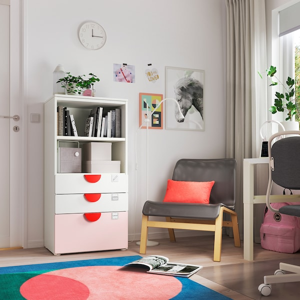 SMÅSTAD / PLATSA Bookcase, white pale pink/with 3 drawers, 60x42x123 cm
