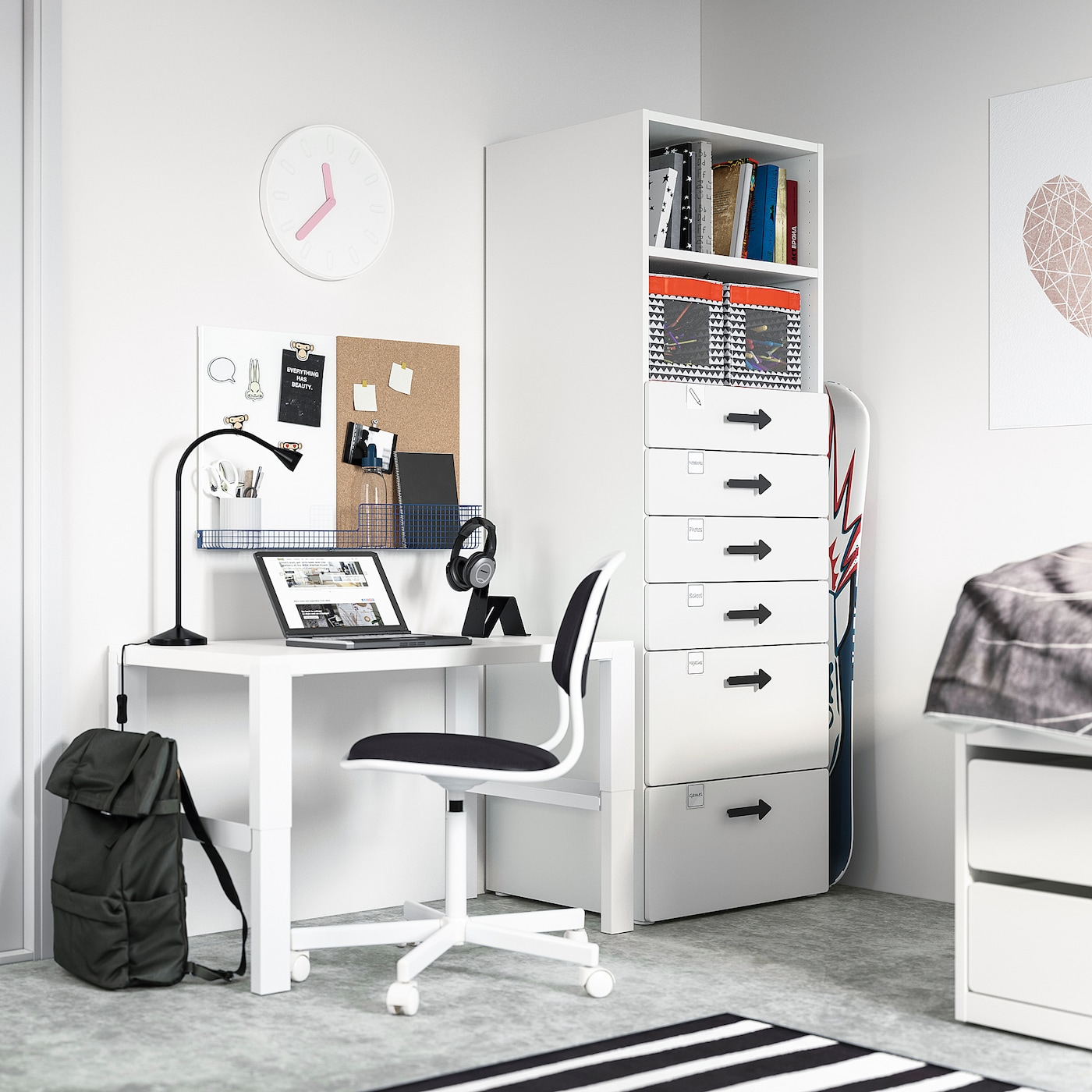 SMÅSTAD / PLATSA Bookcase, white white/with 6 drawers, 60x57x181 cm