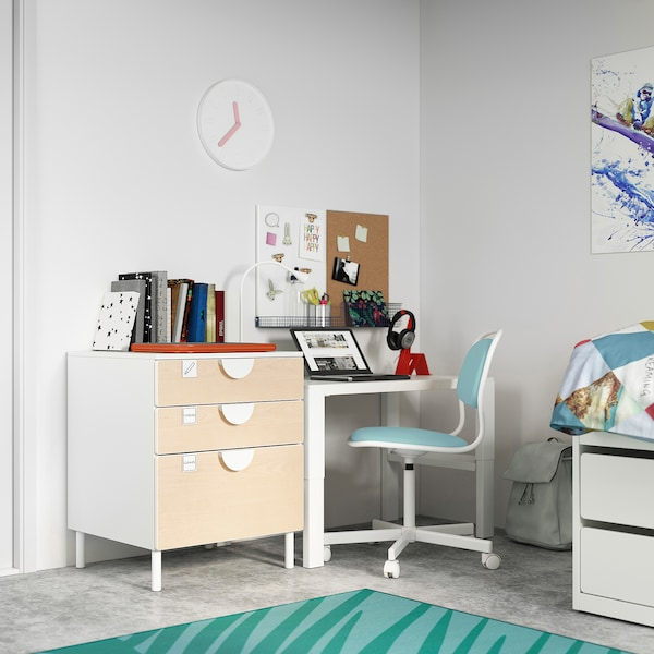 SMÅSTAD / PLATSA Chest of 3 drawers, white/birch, 60x57x63 cm